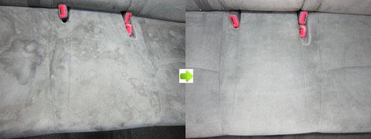 プリウスのシートのクリーニング・シミ取り・洗浄の施工前後比較写真3