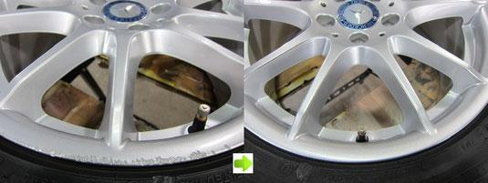 ベンツB180純正アルミホイールのガリ傷・擦り修理の施工前後比較写真アップ写真その1