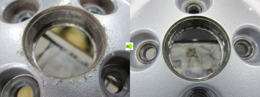 ホンダビート純正アルミホイール全4本ガリ傷・すりキズ・腐食・サビのリペア(修理・修復)&全面カラーチェンジ塗装施工前後比較アップ写真5