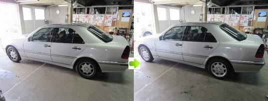ベンツ純正アルミホイールのクリーニングおよびガラスコーティングのビフォーアフターの車全景写真その2