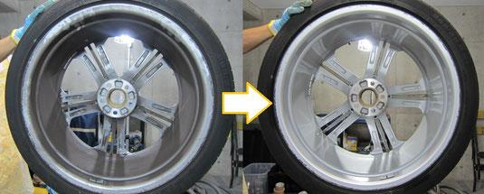 AudiアウディS8 純正21インチアルミホイールのガリ傷・擦りキズのリペア(修理・修復・再生)前のホイール裏面洗浄前後比較写真