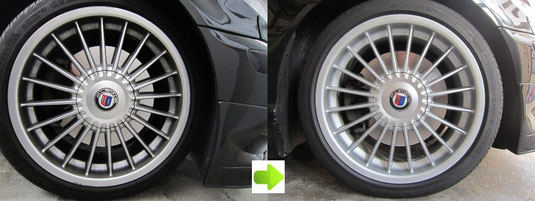 BMW アルピナ B3, 3.3L カブリオレ のアルミホイール4本とセンターカバー1枚のガリ傷・すりキズ・塗装はげ・引っかき傷のリペア(修理・修復・再生)前後比較写真3