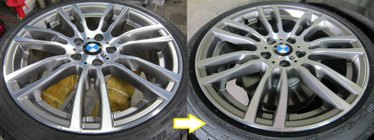 BMW320d(クリーンディーゼル)純正18インチアルミホイール(ポリッシュ)のガリ傷・擦りキズのリペア(修理・修復・再生)前後比較写真