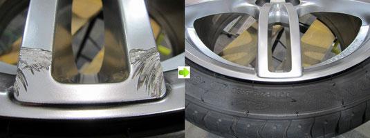 アウディ・A3・Sライン のアルミホイール(ハイパーシルバー)のガリ傷・擦りキズ・欠けのリペア(修理・修復・再生)前後比較アップ写真2