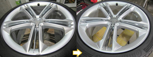 AudiアウディS8 純正21インチアルミホイールのガリ傷・擦りキズのリペア(修理・修復・再生)前後比較写真