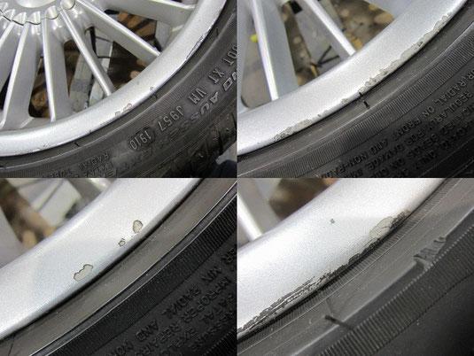 BMW アルピナ B3, 3.3L のアルミホイールのガリ傷・すりキズ・塗装はげ・引っかき傷のリペア(修理・修復・再生)前の傷の写真2