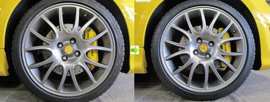 フィアット アバルト695トリブート・フェラーリ の純正アルミホイールのガリ傷・擦りキズのリペア(修理・修復)前後の比較写真3