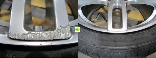 アウディ・A3・Sライン のアルミホイール(ハイパーシルバー)のガリ傷・擦りキズ・欠けのリペア(修理・修復・再生)前後比較アップ写真1