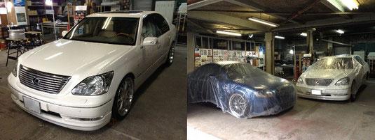 レクサス LS (逆輸入セルシオ)の20インチアルミホイール「WALD(ヴァルド)のPortofino(ポルトフィーノ)」のガリ傷・擦りキズのリペア(修理・修復・再生)前の車輛全景写真