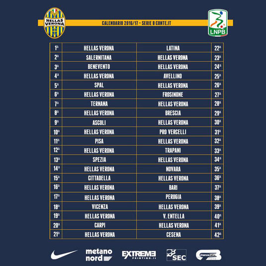 Calendario Serie B Brescia.Calendario Serie B Hellas Group