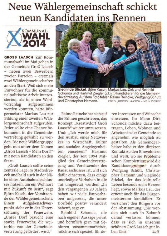 """Wählergruppe """"Gross Laasch - Mein Dorf!"""" -     4 Vereinsmitglieder sind in der Wählergruppe und stellen 2 Kandidaten für die Gemeindevertretung und wieder den Kanditaten als Bürgermeister - Wir meinen """"Sehr engagiert"""""""