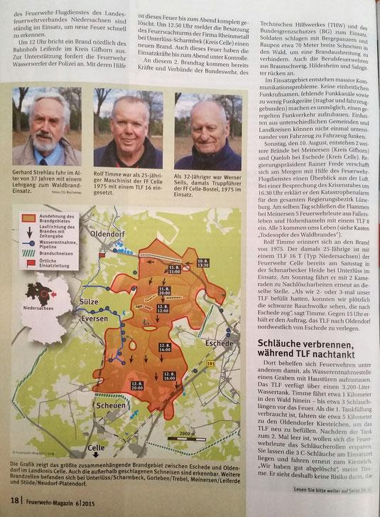 """Der Förderverein im Interview - """"Als die Heide Brannte"""" (Einsatzbericht) - vollständiger Bericht im Feuerwehr-Magazin Juni 2015 Seite 16 bis 26"""