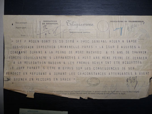 Télégramme du Procureur général au Garde des Sceaux du 25/11/1910