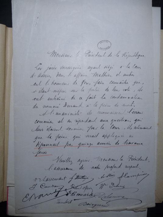 Lettre collective des jurés. Tragique méprise / sources archives nationales BB/24/20104