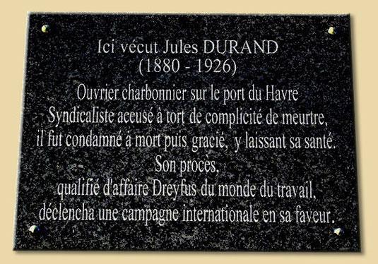 Plaque apposée sur la maison de Jules Durand, Quai de Saone