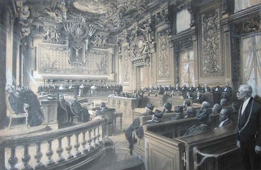 La Grand Chambre de la Cour de Cassation réhabilitant Alfred Dreyfus en 1906