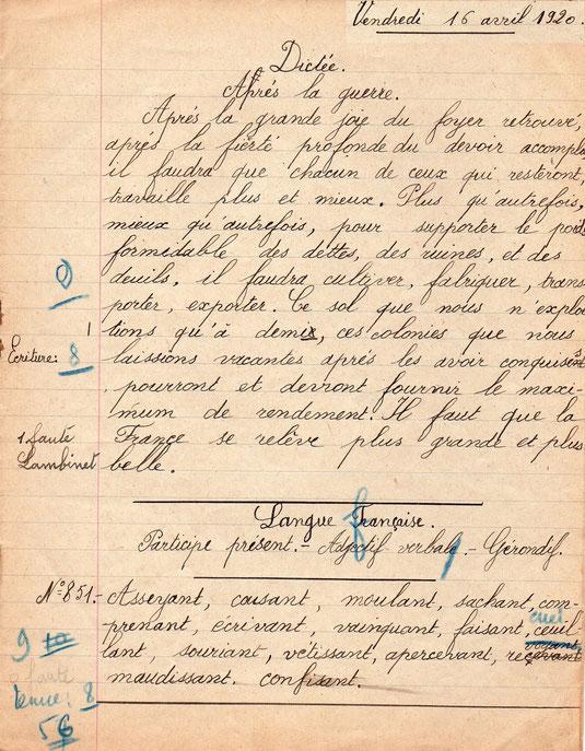 Une dictée en 1920