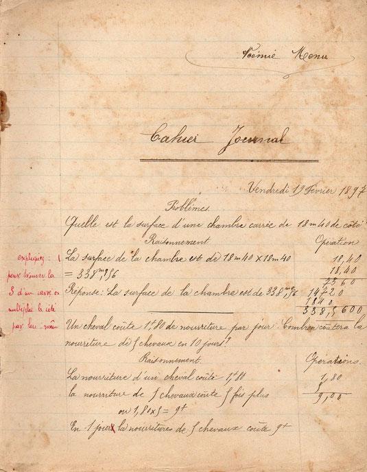 Cahier journal de Noémie Menu en 1897, à l'age de 9 ans