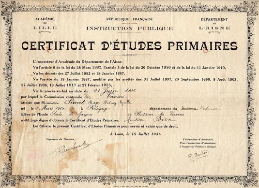 Certificat d'études primaires à 12 ans