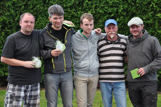 Sieger, Ausrichter, Sieger (Jascha, Frank, Sören, Bruno & Mathias)