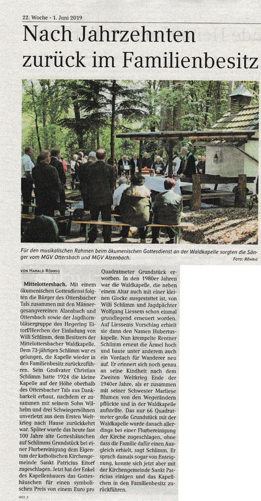 Quelle: Extrablatt Eitorf-Windeck 01. Juni 2019