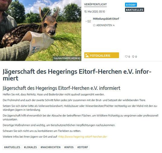 Quelle: www.unserort.de / Mitteilungsblatt 15.05.2020