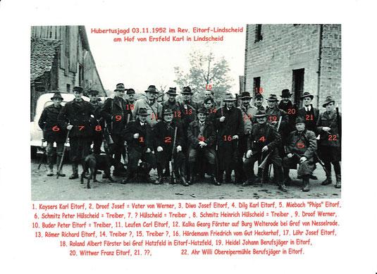 Hubertusjagd 03.11.1952 im rev. Eitorf-Lindscheid am Hof von Ersfeld Karl in Lindscheid