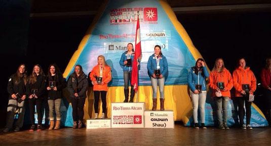 Katrin bei der Preisverteilung des Riesentorlaufs am 2. Rang
