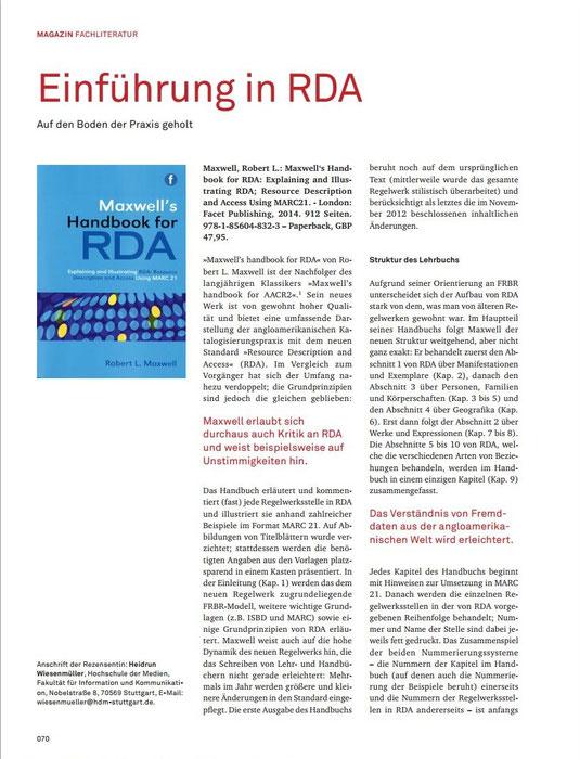 """Abbildung der Rezension zu """"Maxwell's handbook for RDA"""""""