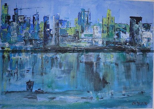 Blaue Stadt, gemalt Febr. 2014, in Nordkirchen