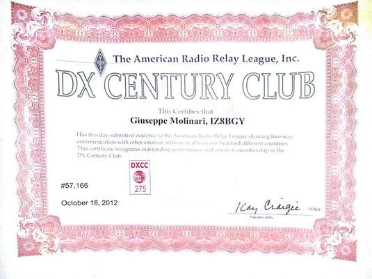 DXCC 296 paesi aggiornato a ottobre 2012