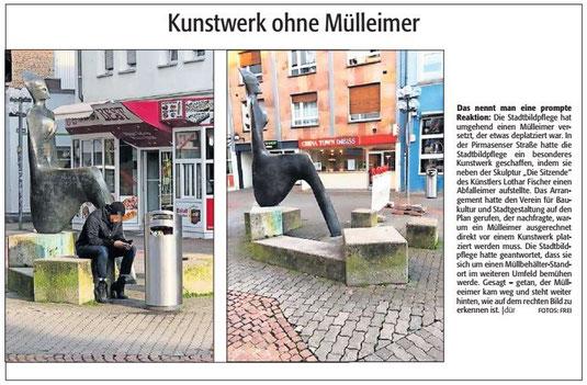 Verein für Baukultur und Stadtgestaltung Kaiserslautern e. V. - Kunstwerk - Die Sitzende - Mülleimer