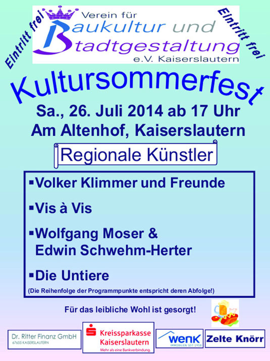 Verein für Baukultur und Stadtgestaltung Kaiserslautern e. V. - Plakat Kultursommerfest 2014