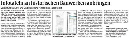 Verein für Baukultur und Stadtgestaltung Kaiserslautern e. V. - Infotafeln