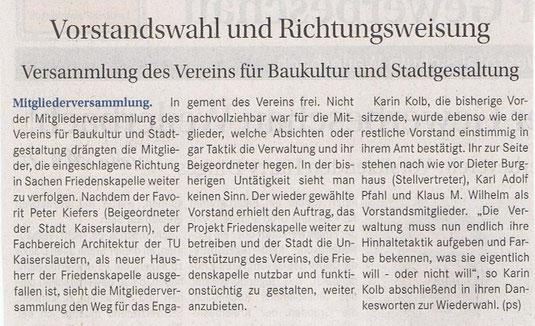 Verein für Baukultur und Stadtgestaltung Kaiserslautern e. V. - Vorstandswahl und Friedenskapelle