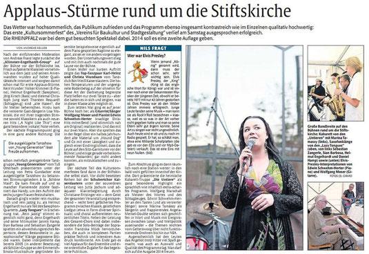 Verein für Baukultur und Stadtgestaltung Kaiserslautern e. V. - Kultursommerfest 2013_Rheinpfalz_Kritik