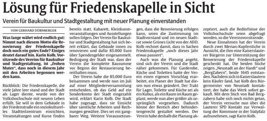 Verein für Baukultur und Stadtgetaltung Kaiserslautern e. V. - Friedenskapelle
