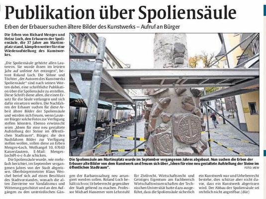 Verein für Baukultur und Stadtgestaltung Kaiserslautern e. V. - Spoliensäule