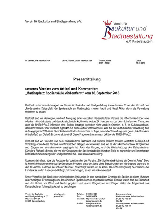 Verein für Baukultur und Stadtgestaltung Kaiserslautern e. V. - Pressemitteilung