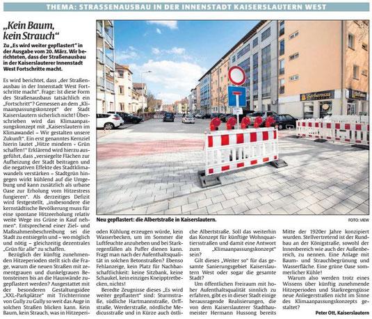 Vereinf ür Baukultur und Stadtgestaltung Kaiserslautern e. V. - Straßenbau