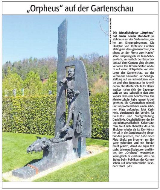 Verein für Baukultur und Stadtgestaltung Kaiserslautern e. V. - Orpheus-Statue