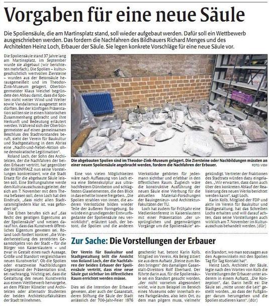Verein für Baukultur und Stadtgestaltung Kaiserslautern e. V. - Rheinpfalz - Spoliensäule