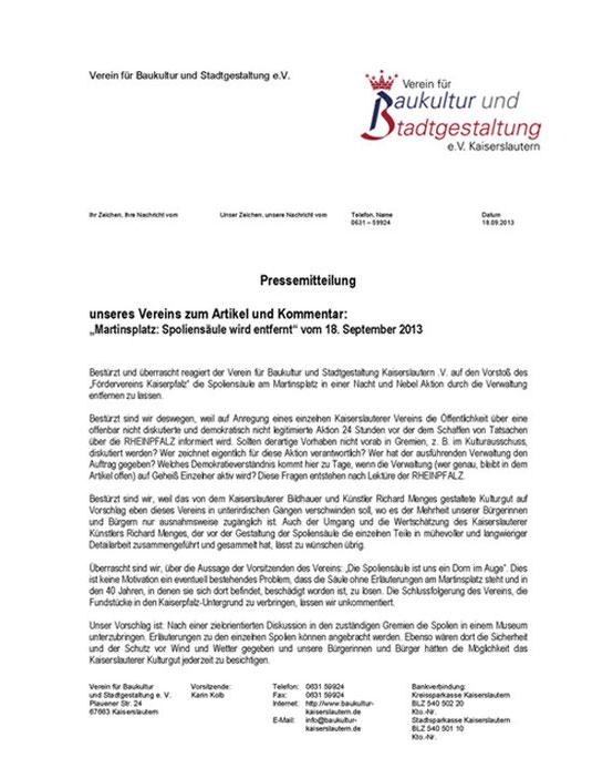 Verein für Baukultur und Stadtgestaltung Kaiserslautern e. V. - Pressemeldung Spoliensäule
