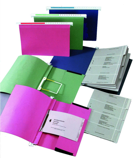 Kreditakten mit Kunstsoffträger und Register für Kreditakten