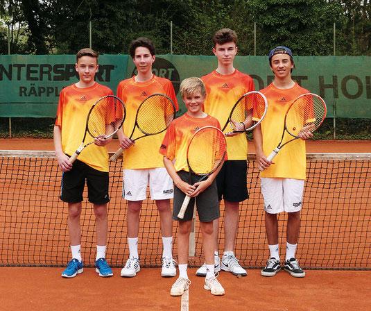V.l.n.r.: Nr. 5 Falk Weber, Nr. 1 Nils Küstermann, Nr. 2 Lasse Pörtner, Nr. 7 Nemanja Popovic, Nr. 6 Finn Schweizer,