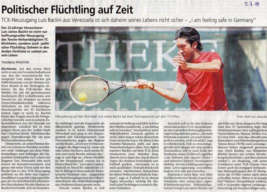 Quelle: Der Teckbote vom 05.07.2014