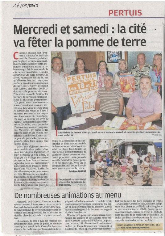 La Provence 16 septembre 2013