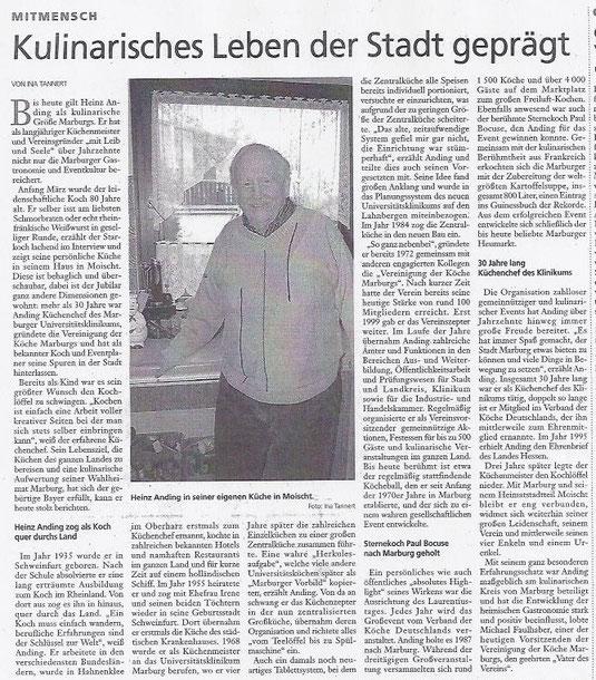 Oberhessische Presse interviewt den ehemaligen Vorsitzenden Heinz Anding zum Anlass seines 80. Geburtstages.