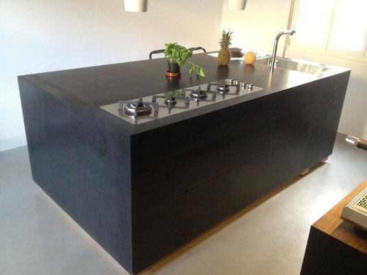 Kücheninsel komplett Mineralwerkstoff schwarz