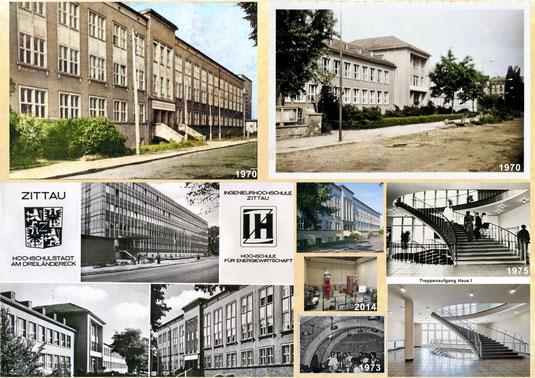 Die Ingenieurhochschule Zittau (IHZ) Collage, damals und heute